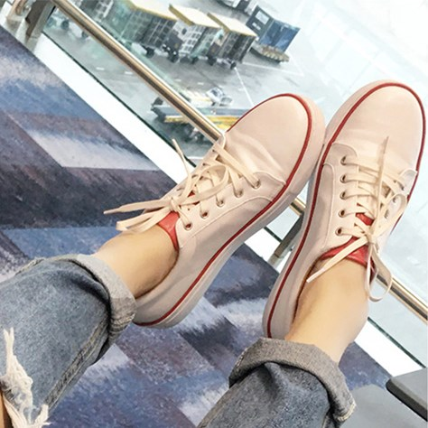 Spring and summer ms. female flat canvas shoes fashion shoes white shoes leather casual shoes white shoes female korean student shoes