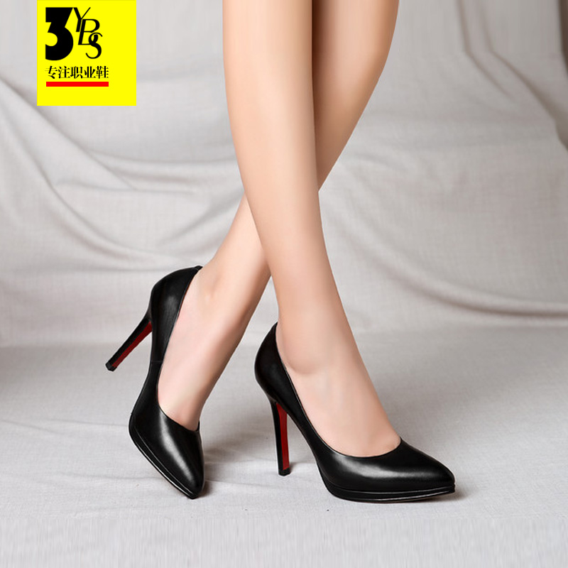 Spring and summer shoes pointed fine with career singles shoes leather shoes waterproof heels red wedding shoes shallow mouth comfortable shoes