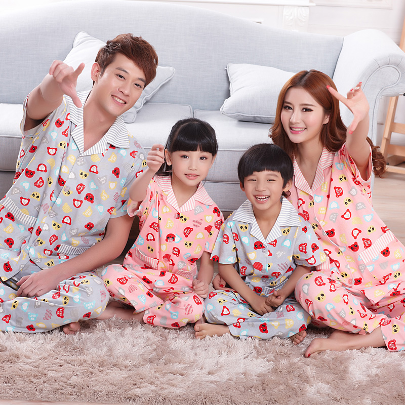 Spring and summer short sleeve cotton pajamas paternity short sleeve pajama pants and her daughter family pack paternity suit pajamas