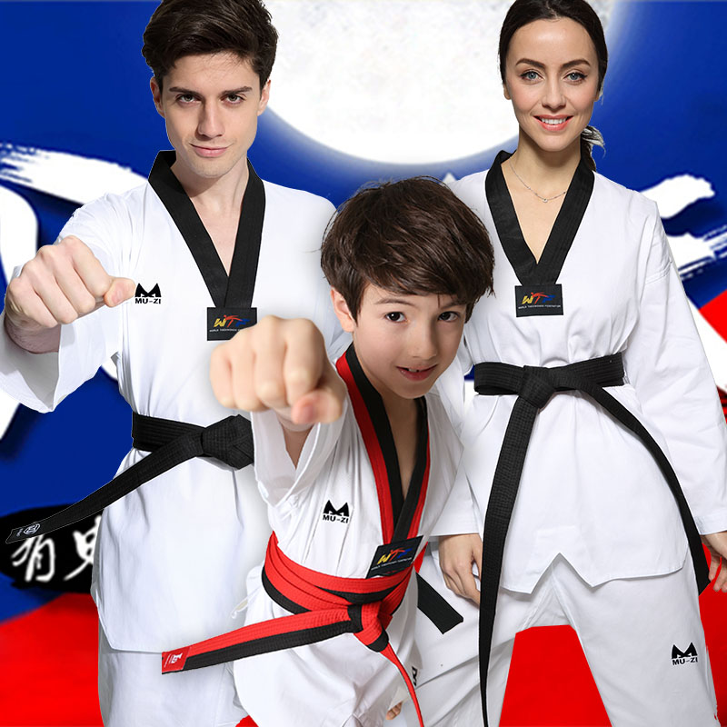 Spring cotton taekwondo taekwondo suits children long sleeve cotton short sleeve men and women adult taekwondo training clothes clothing