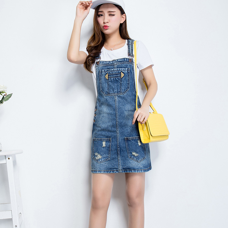 a53715ba407 Get Quotations · Spring denim skirt strap dress 2016 summer female korean  version of the influx of large size