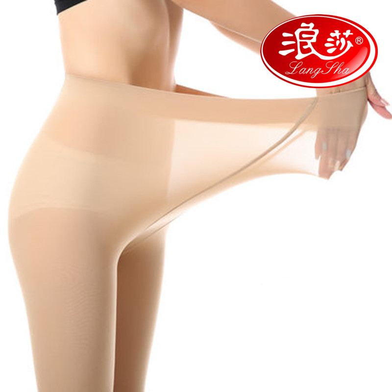 Spring langsha stockings sided plus file pantyhose stockings female waist in thick autumn fertilizer to increase code step foot socks