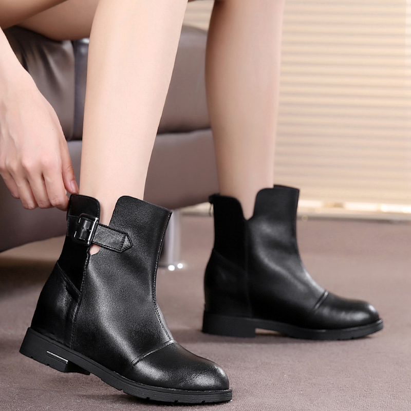 Spring leather boots single boots women shoes boots women's boots women's shoes flat heels flat shoes increased within martin boots 558