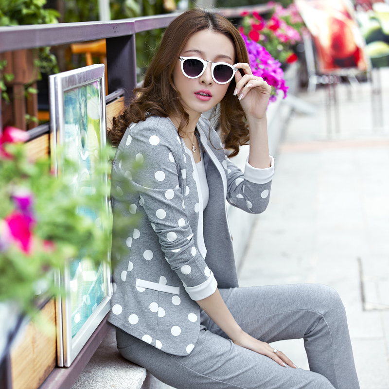 Spring models sportswear suit trousers ms. big yards sweater leisure sports suit female three sets of comfortable sweater open