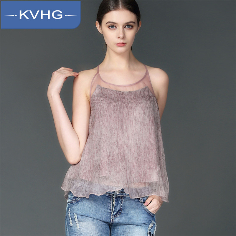 Spring new korean version of KVHG2016 ladieswear influx of women fashion vest at the end of wild fight gauze halter straps 1177