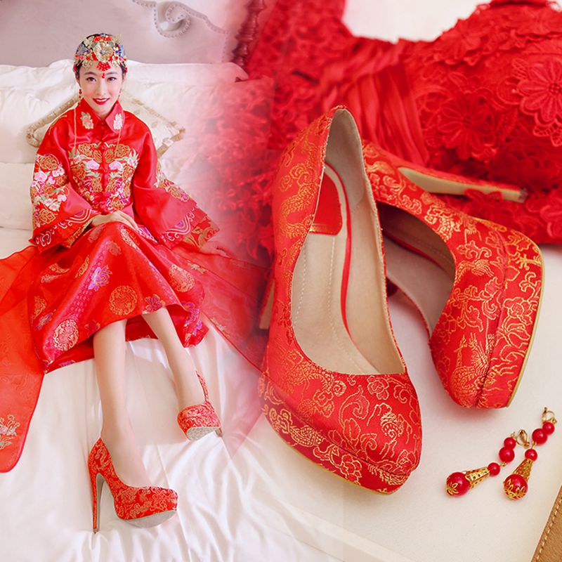 Spring wedding dress red chinese wedding shoes bridal shoes wedding shoes embroidered shoes women shoes spring shoes wedding shoes super high heels