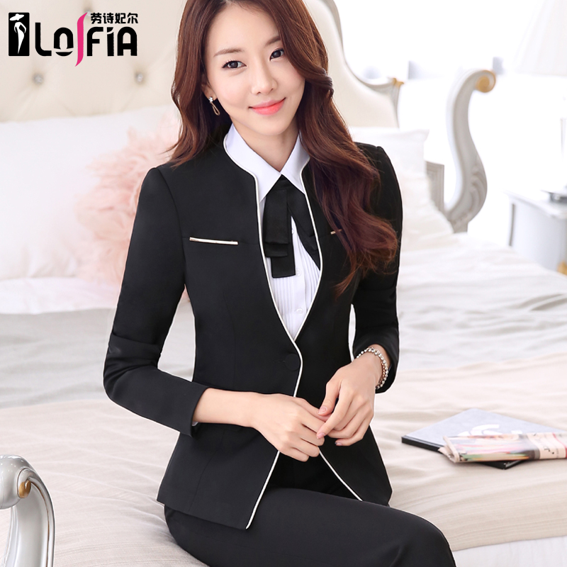 Spring women wear interview dress skirt suit black suit three sets of studio tooling overalls jewelry store
