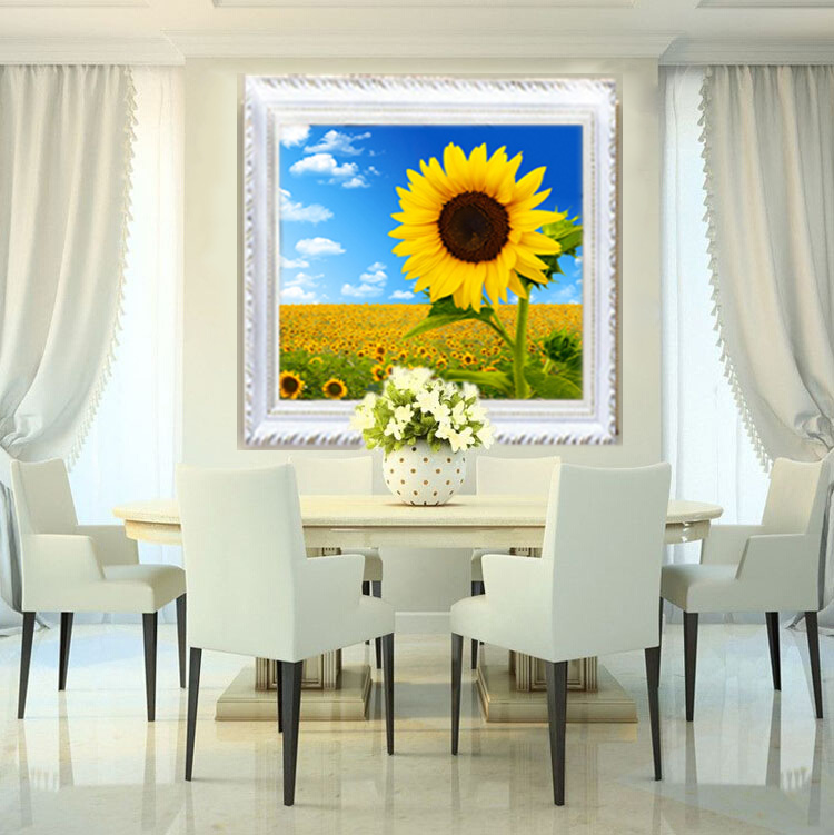 Square drill new living room bedroom sunflower painting flowers 5d diamond embroidery stitch diamond paste diamond drill stick painting party full of diamond drilling
