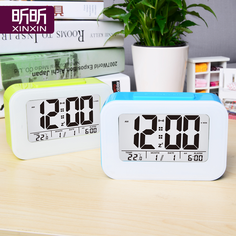 Square smart lazy snooze alarm clock luminous silent clock creative fashion electronic clock bedside clock children