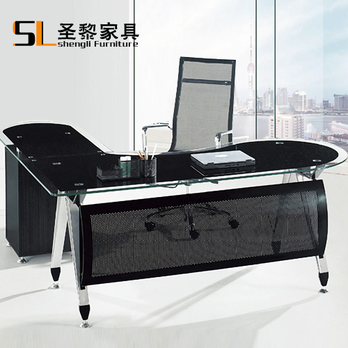St. li office furniture black glass table glass computer desk manager desk minimalist 6615