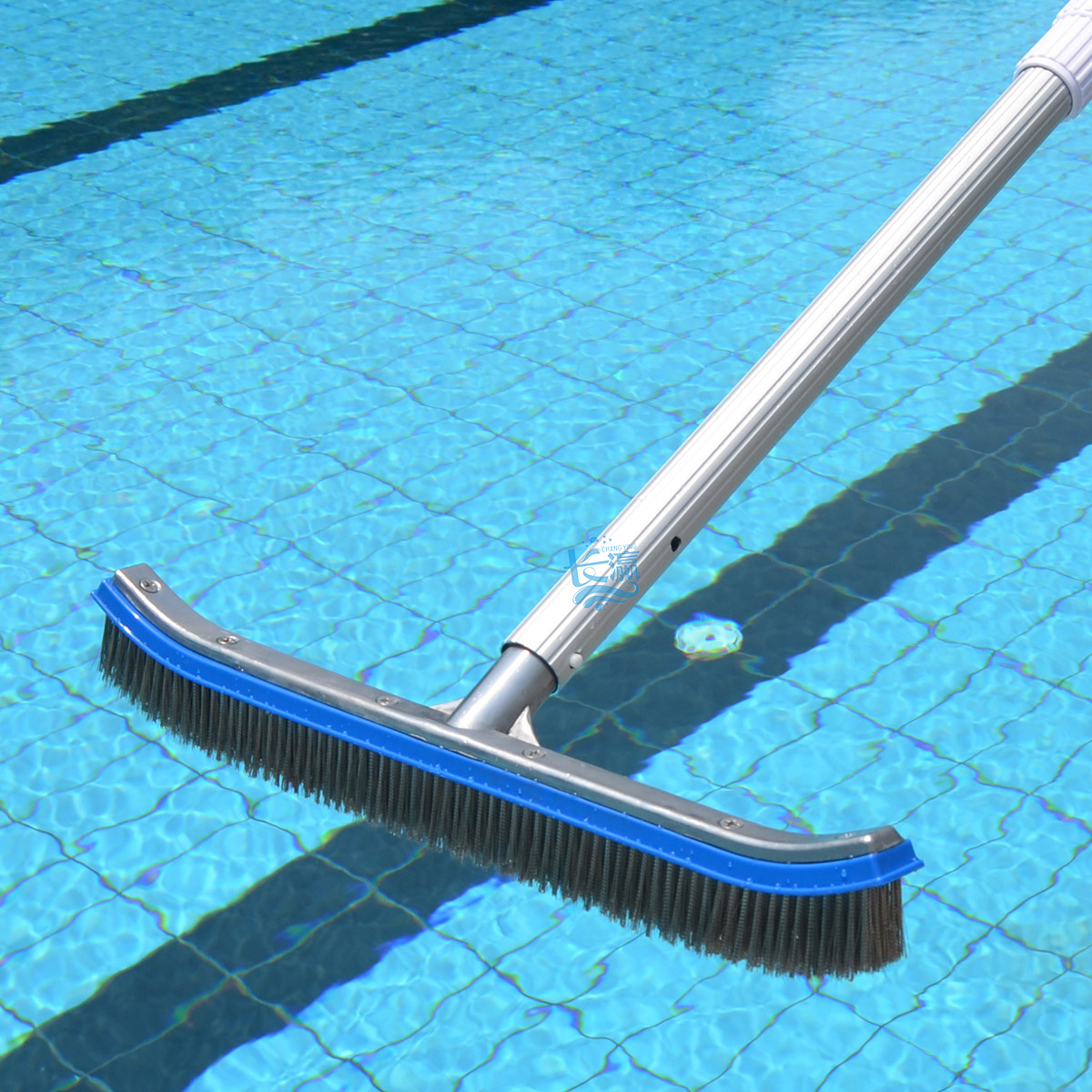 Stainless steel wire brush to brush the pool 18 inch aluminum adhesive bottom wall cleaning brush brush brush moss pond pool Tools