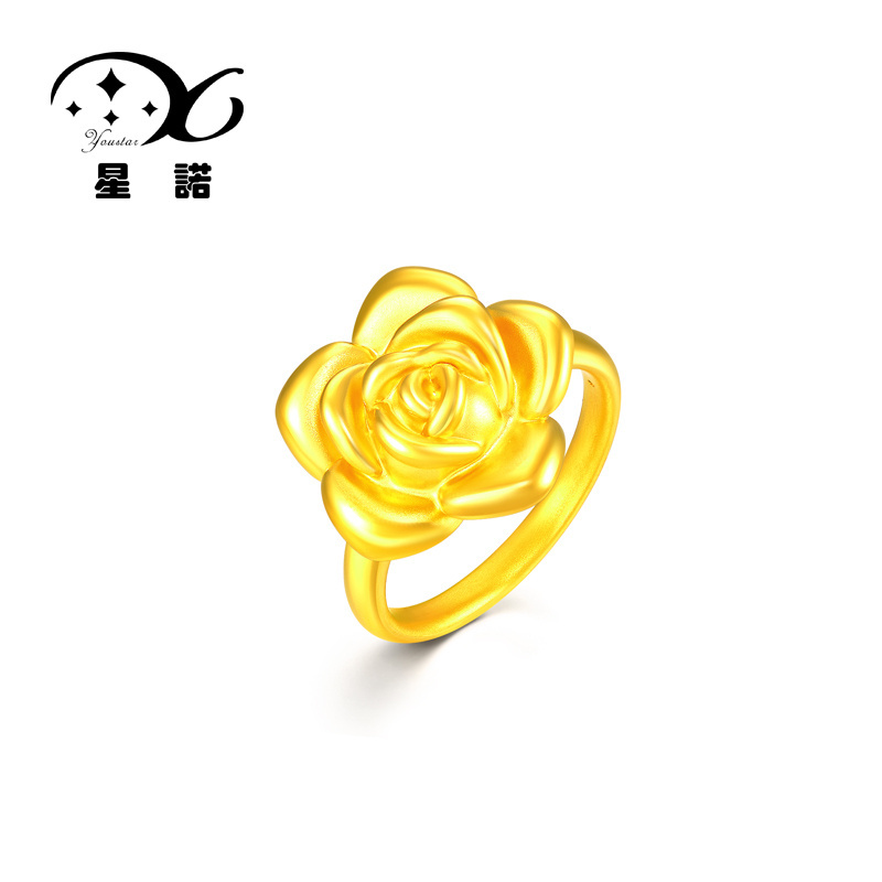 Star connaught counter unpas ring/ring足é3d hard gold 999 gold ring of roses female to send his girlfriend a