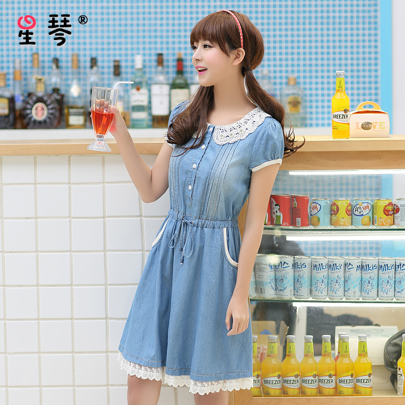 Star piano girls summer 2016 blue lace dress casual cute denim skirt thin section of middle school