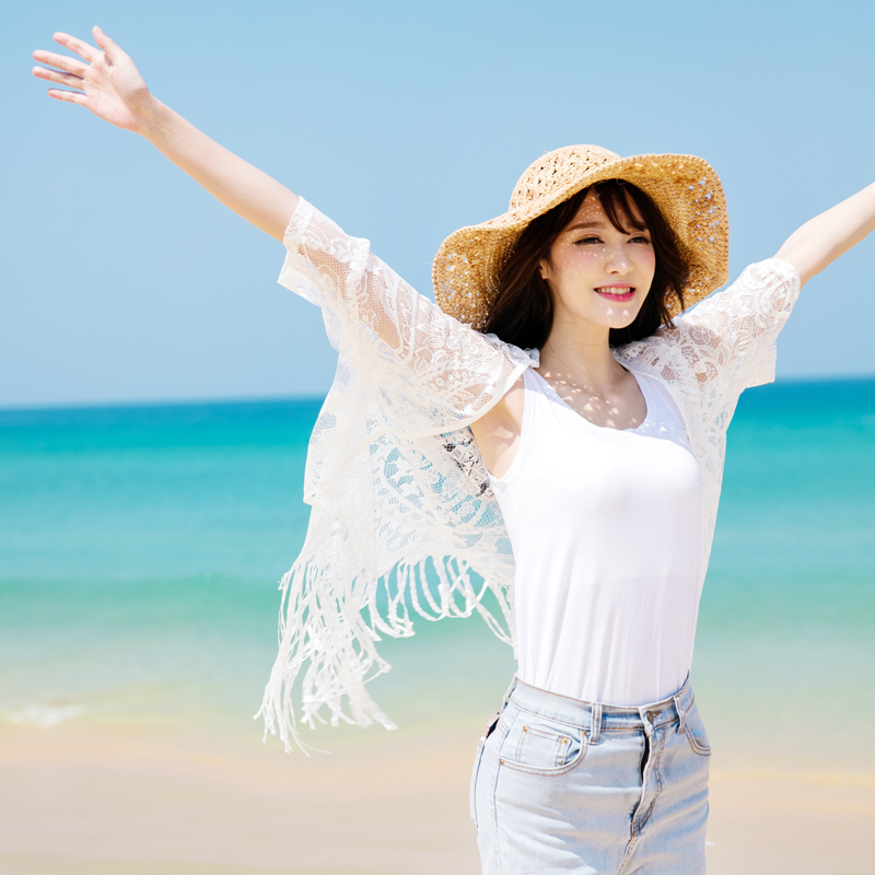 c16727487a Get Quotations · Static wire spring new beach outside the ride cardigan  thin coat of white lace shirt and
