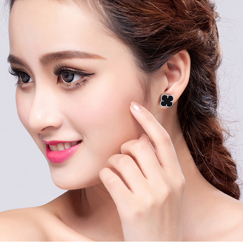 Sterling silver onyx clover south korean female models s990 fine silver earrings earrings temperament minimalist fashion accessories gifts