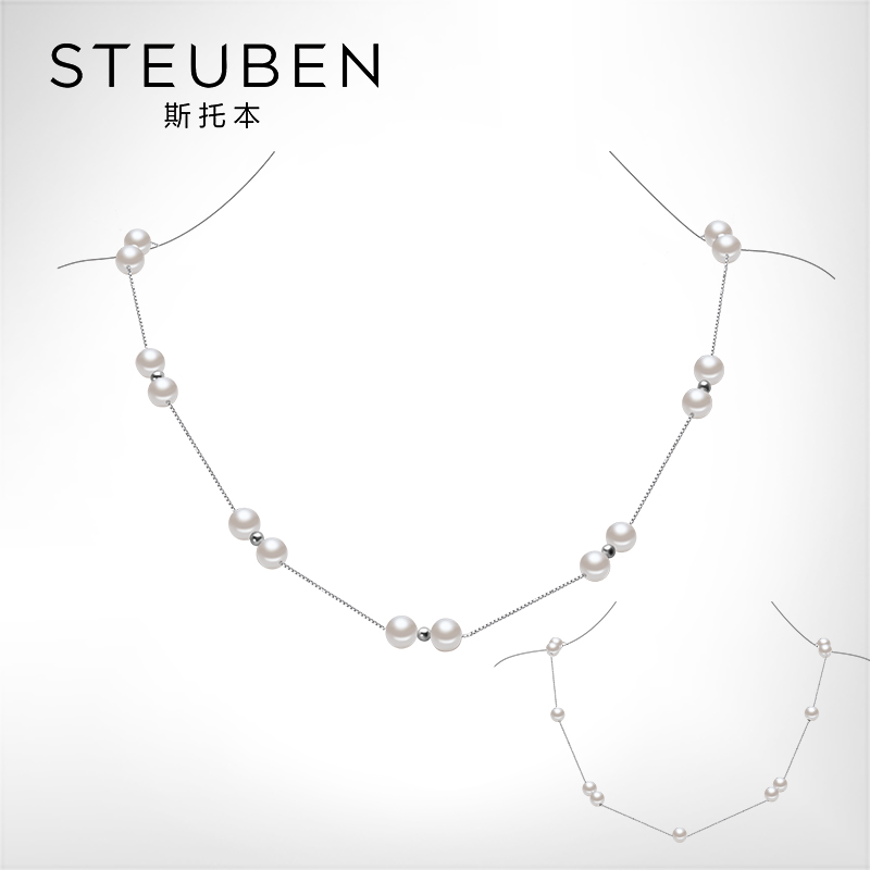 Steuben/steuben starry sky 925 silver natural freshwater pearl necklace near flawless round