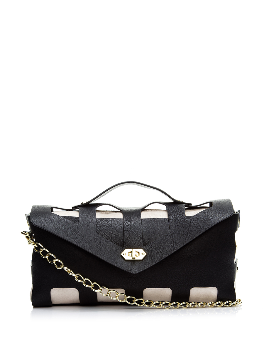 Steve madden/simei gordon hollow black to fight white flip chain bag