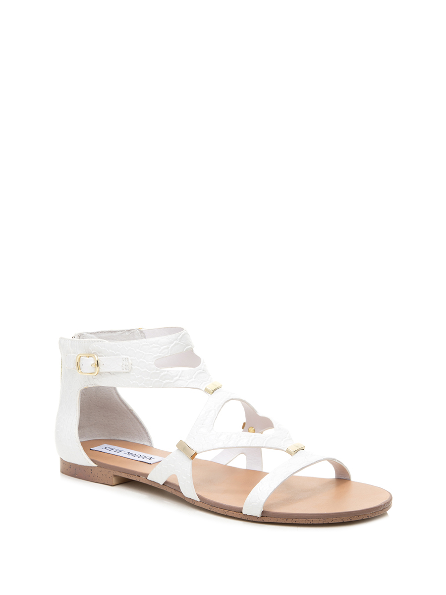 Steve madden/simei gordon white animal pattern hollow loop with flat sandals