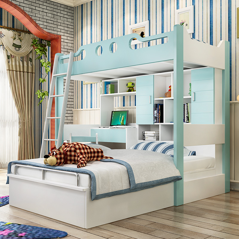 Still open up and down the bed versatile children's bunk bed with desk wardrobe combination of boys and girls home with a suite bed