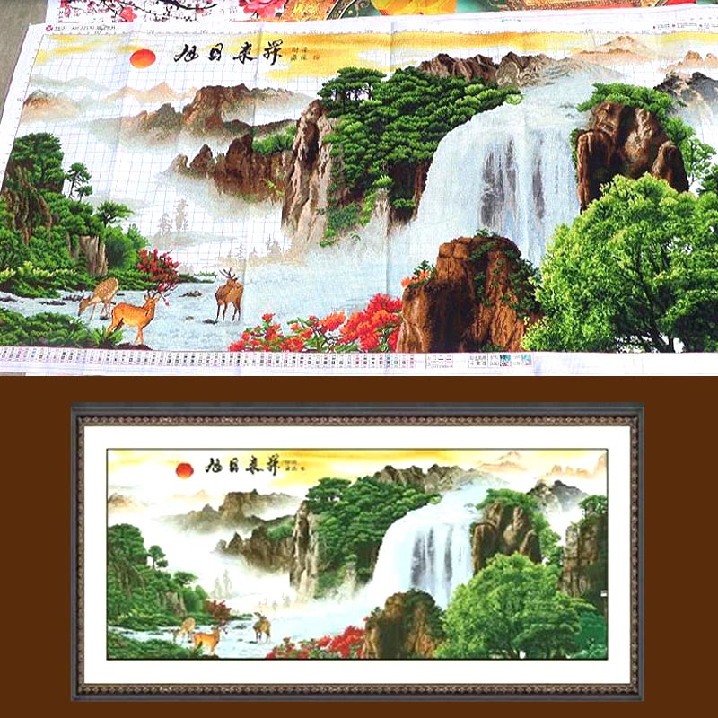 Stitch handmade finished making money flowing sharply rising sun parlor extra cash flow to make money living room landscape paintings