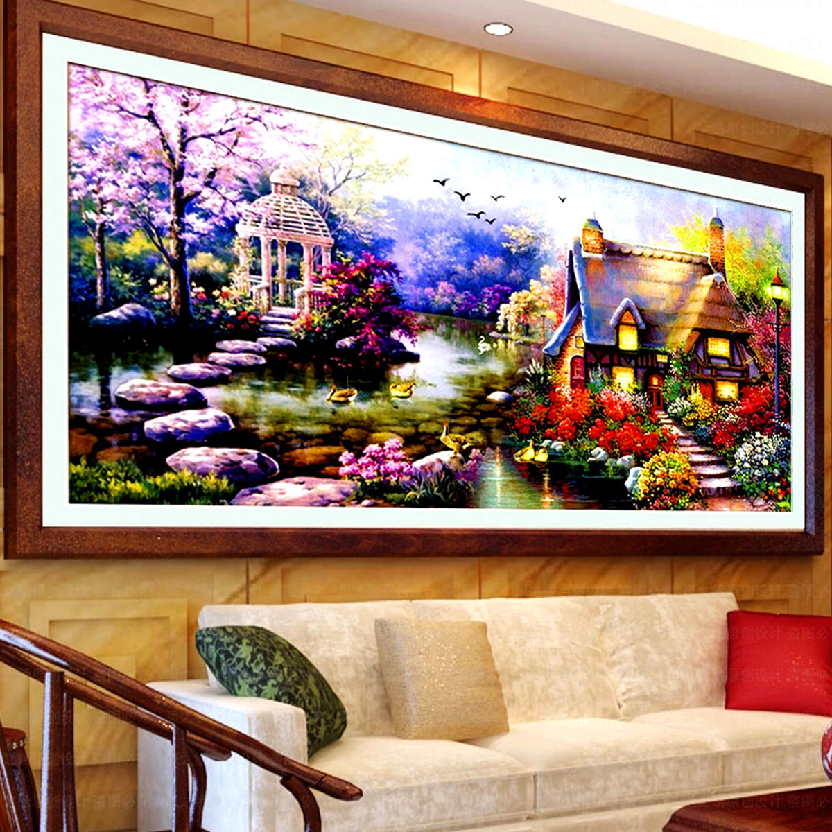 Stitch substantial new living room painting garden cottage garden home landscape painting in europe and america