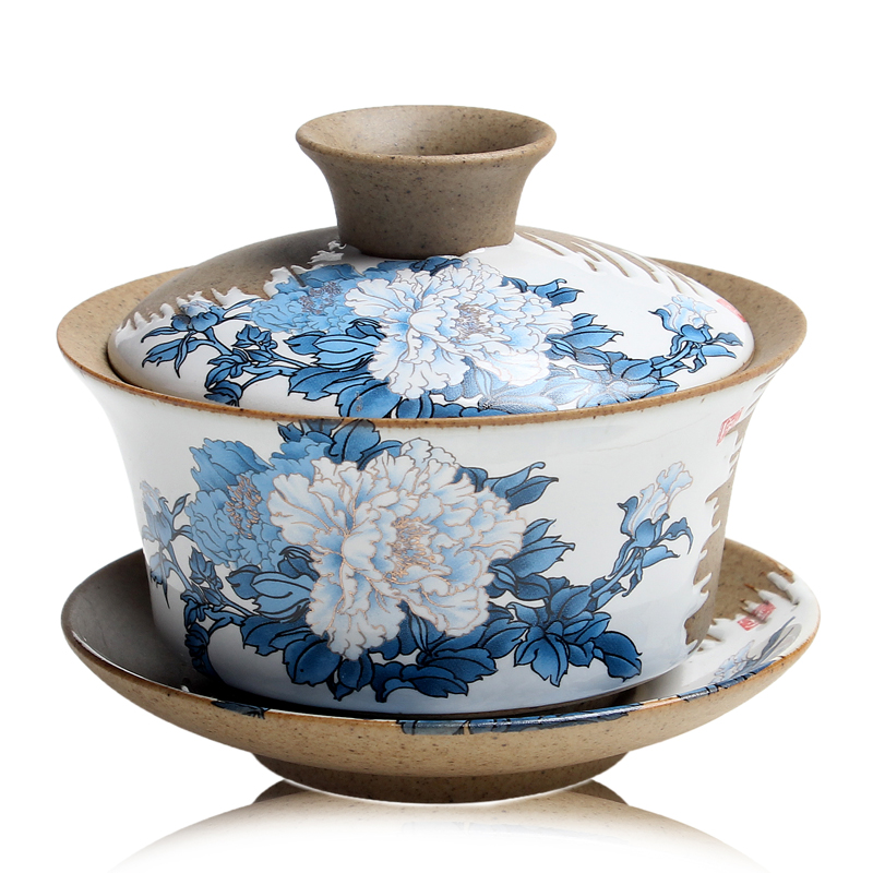 Stoneware ceramic kung fu tea tureen bowl with god and offer tea tea cup medium cup of tea is spring ancient pottery