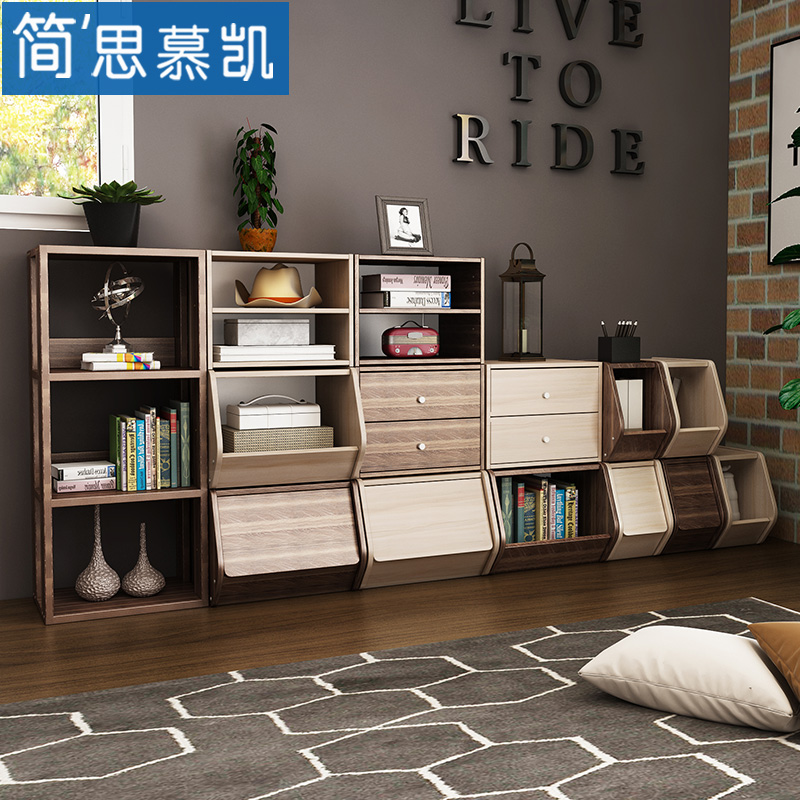 Storage storage cabinets free combination bookcase bookcase small plaid living room shelf wooden nightstand drawer cabinet box