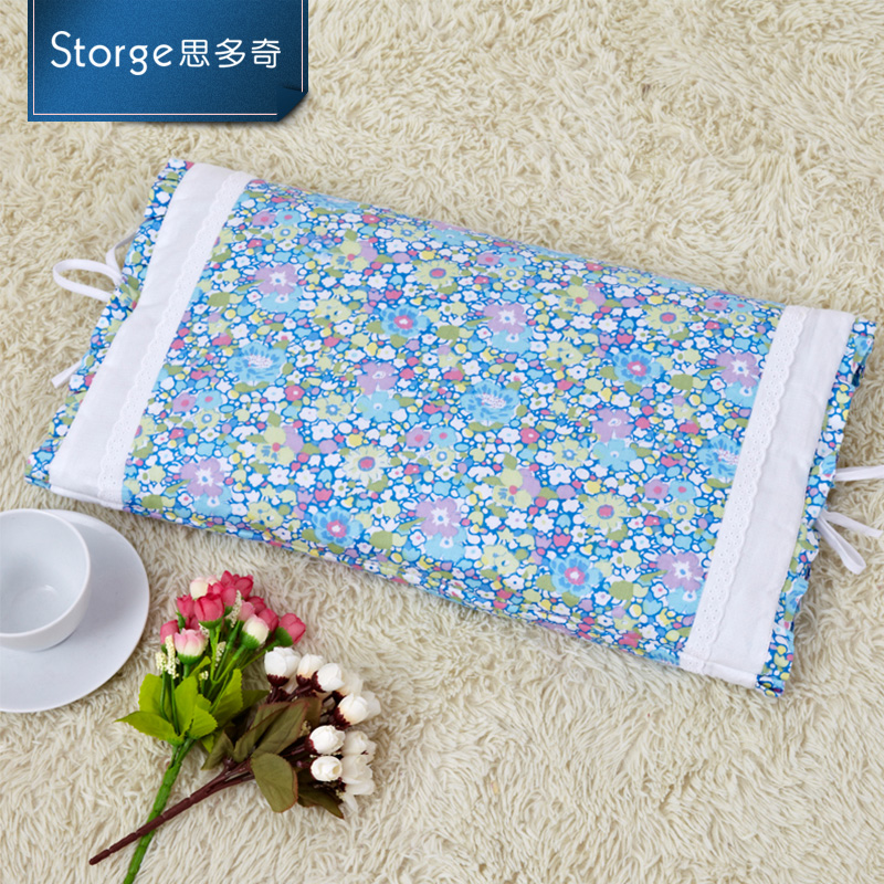 Storge/si duoqi cotton summer korean buckwheat pillow embroidered pillow neck pillow lace azxz