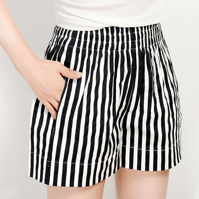 Striped elastic waist shorts female summer big yards wide leg pants casual shorts beach pants female korean wide waist shorts female
