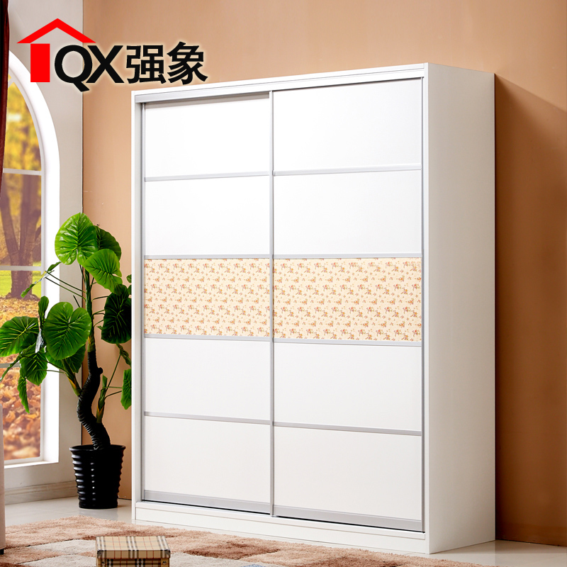 Strong like a modern minimalist fashion plate 2 door wardrobe bedroom wardrobe sliding door sliding door corner cabinet customized b-020