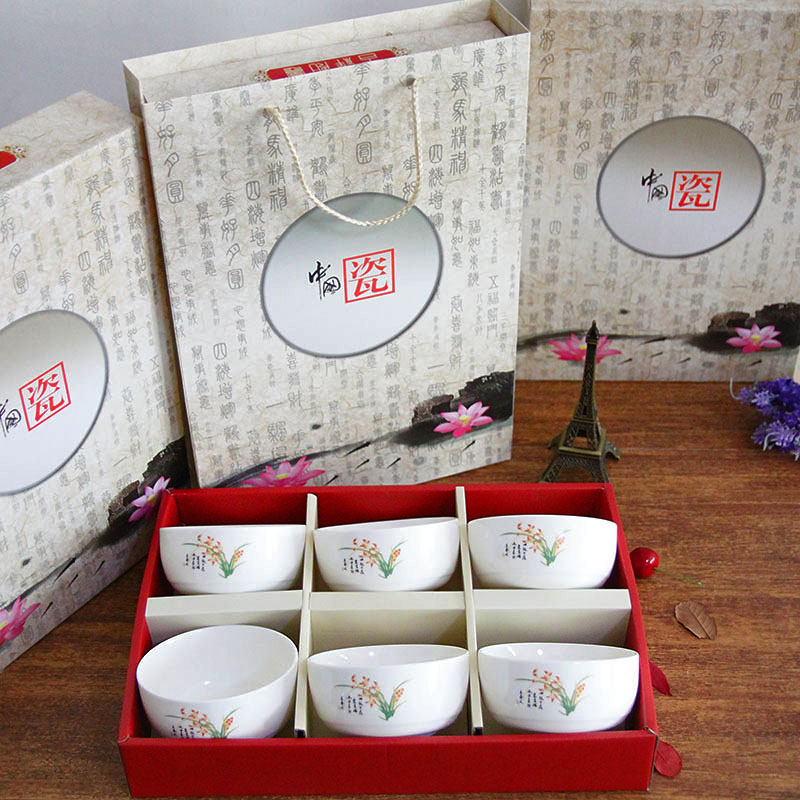 Su chinese ceramic kiln porcelain tableware bowl creative chinese porcelain tableware gift set wedding favor gift