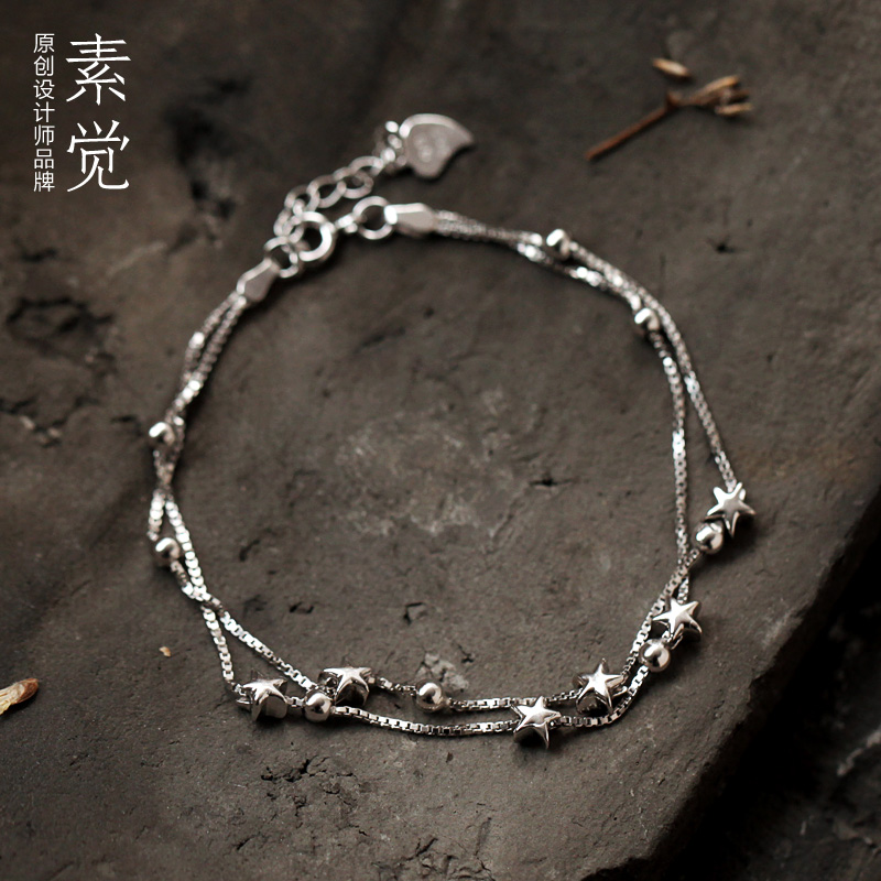 Su feel original handmade jewelry 925 silver beaded double pentagram ms. bracelet wrist chain female christmas
