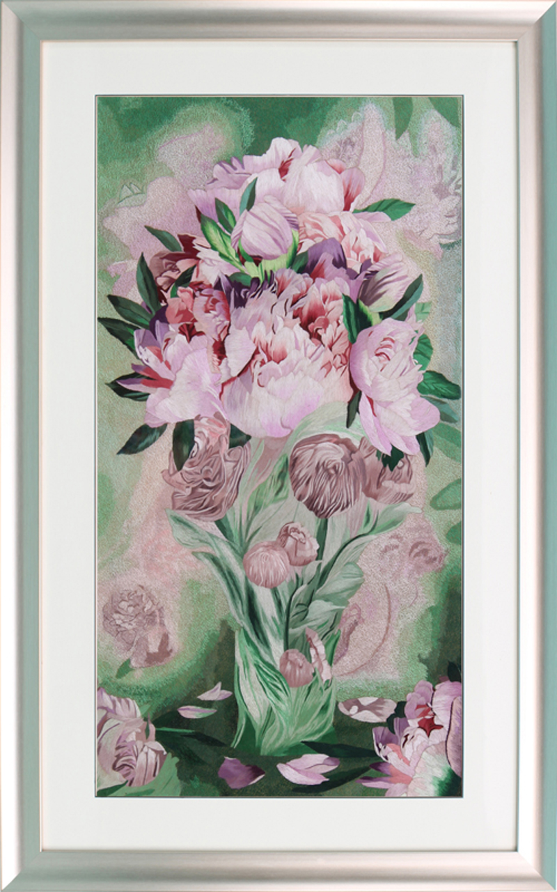 Su street family handmade embroidery finished embroidery peony bud bloom non cross stitch decorative painting 90044