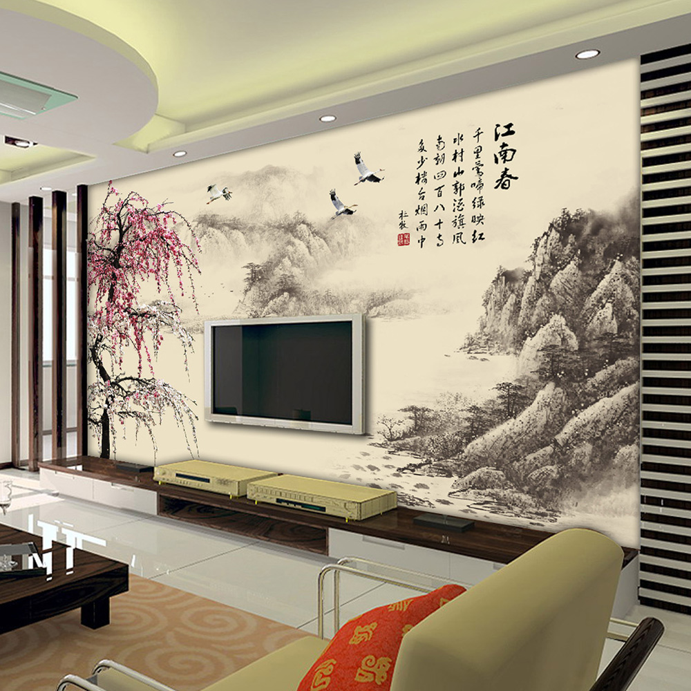 Su yi custom 3d stereoscopic seamless large mural of chinese landscape wallpaper living room sofa tv background wallpaper