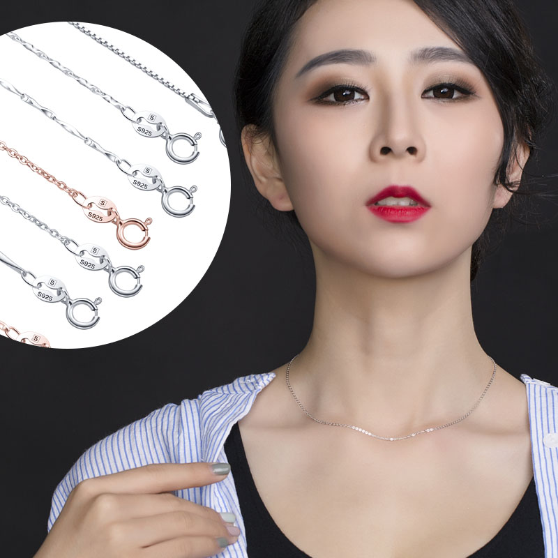 Subclavicular genuine silver color silver color gold necklace female korean 925 k rose gold oval pendant no simple bare chain
