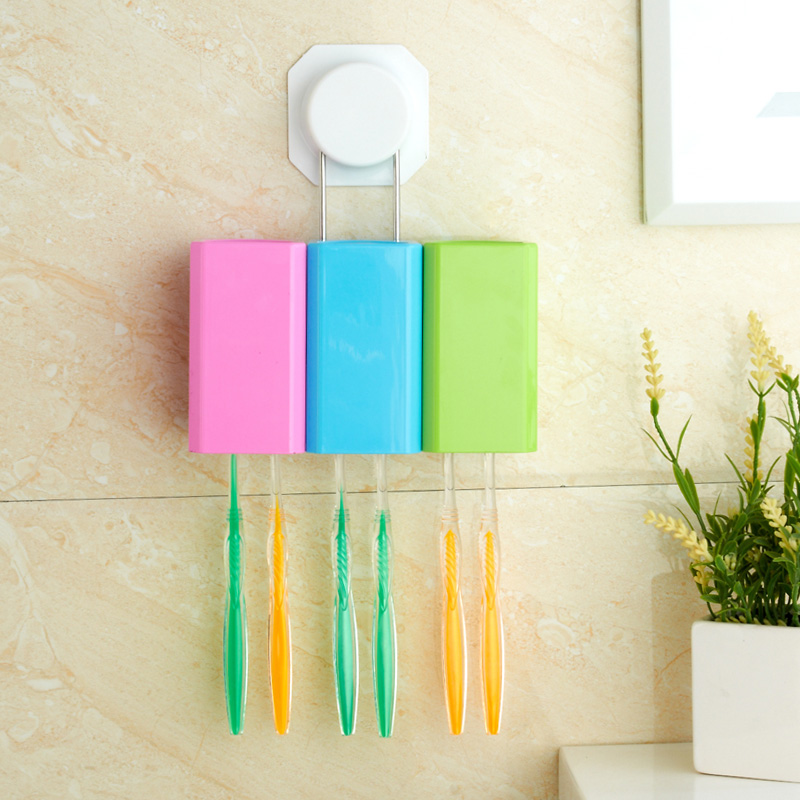 Suction wall wash suits toothbrush holder wall toothbrush holder sucker cup brushing mouthwash cup with automatic toothpaste dispenser