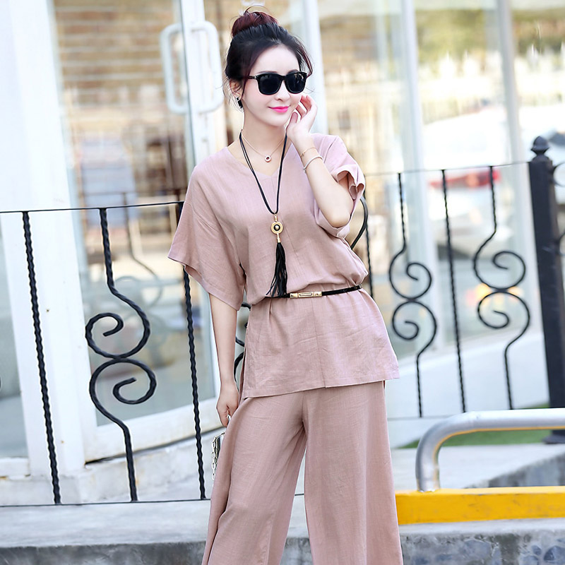 Suit female summer fashion 2016 new women korean fan temperament short sleeve personality european leg leisure suit wide leg pants