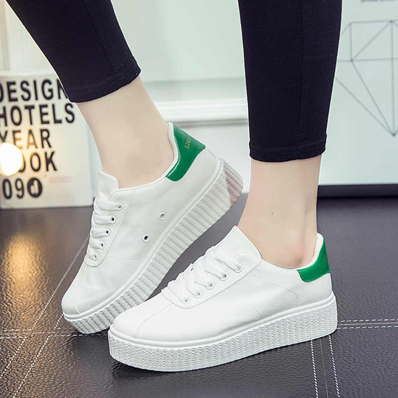 Get Quotations · Summer breathable canvas shoes women shoes white shoes thick crust muffin increased student shoes korean lace