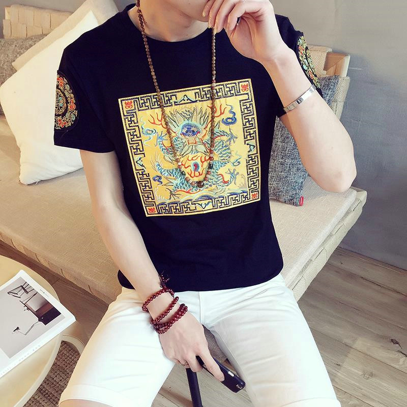 Summer embroidery chinese style embroidery sleeve dress retro big yards short sleeve t-shirt men korean slim influx of men