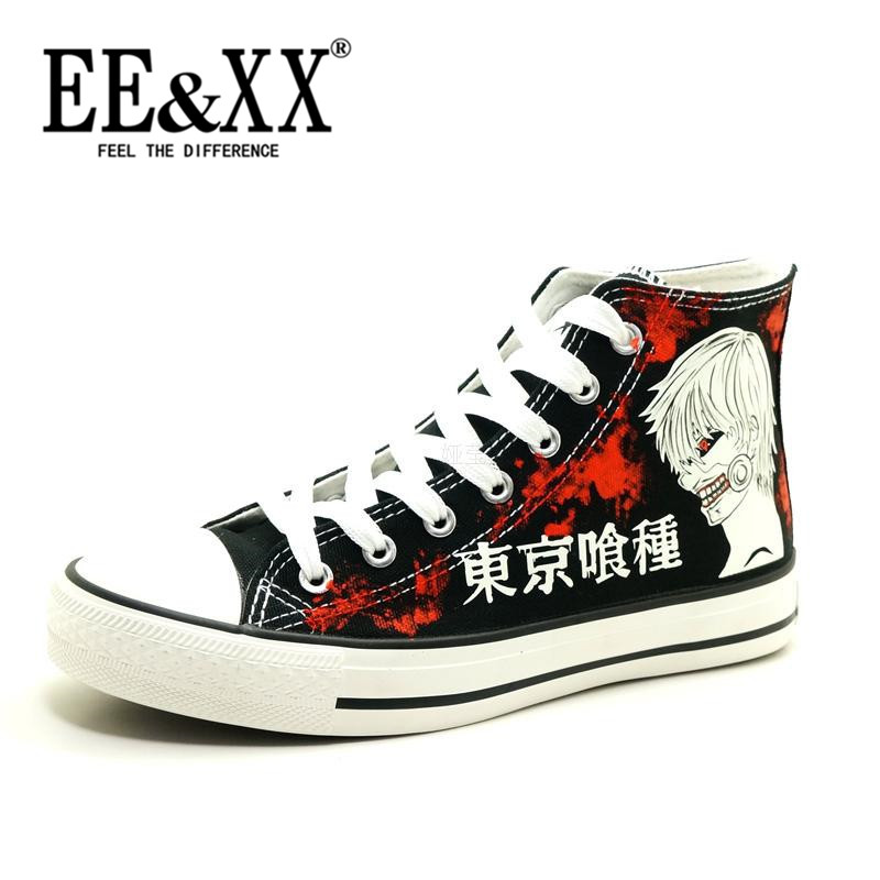Summer fashion tide EEXX2016 tokyo tokyo ghoul ghoul luminous painted shoes korean version of the new lace canvas shoes 0752
