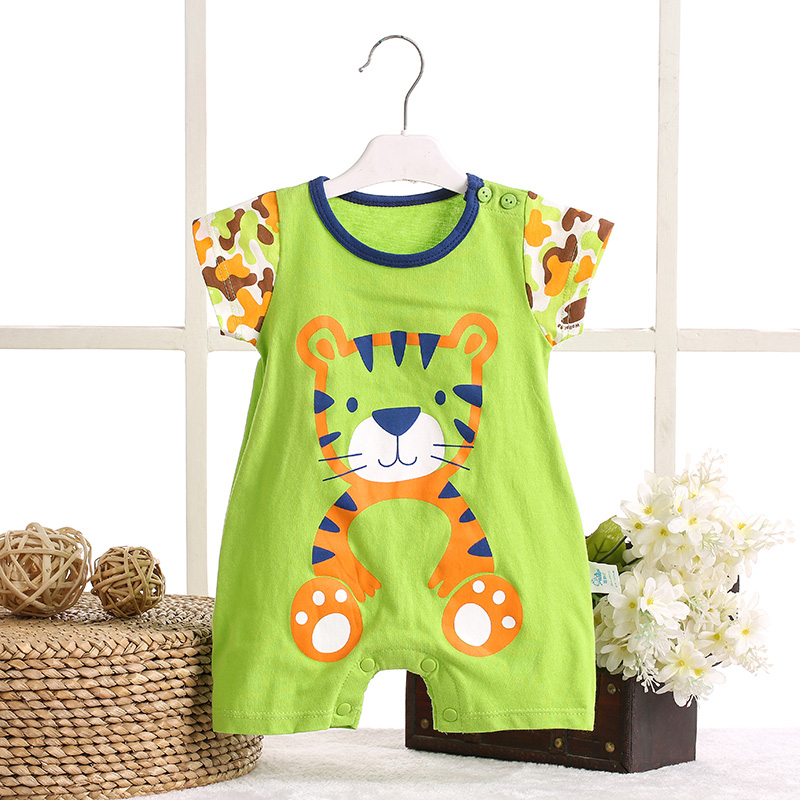 Summer infant baby summer cotton sleeve leotard romper clothes to climb out clothes for men and women baby short sleeve romper even