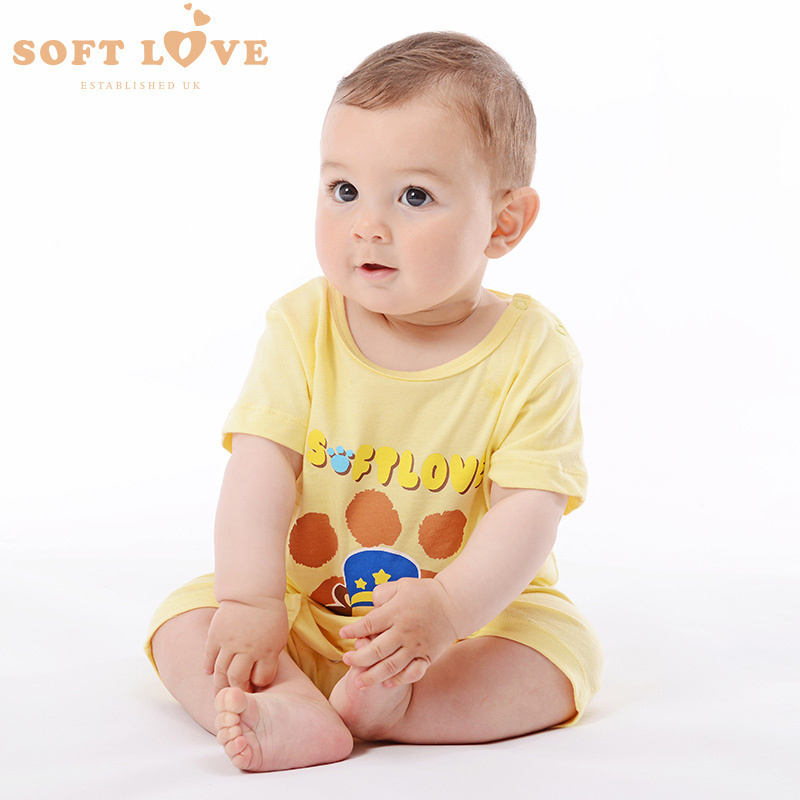 Summer infant bodysuit softlove2016 new baby clothes for men and women cotton short sleeve romper climbing clothes