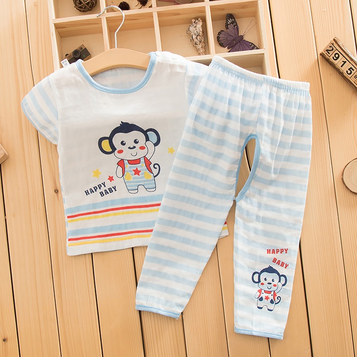 Summer infant short sleeve cotton gauze pants open files open files suit suits for men and women baby double gauze sleeve