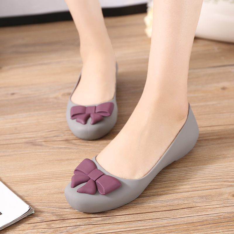 c953a7f139cf46 Get Quotations · Summer korean female plastic sandals flat jelly shoes  ladies sandals baotou shallow mouth bow flat shoes