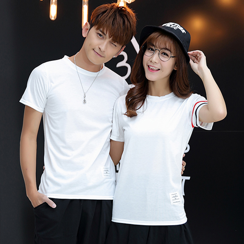 Summer korean version of college wind couple shirt lovers short sleeve t-shirt female college wind male and female junior high school student class service tide
