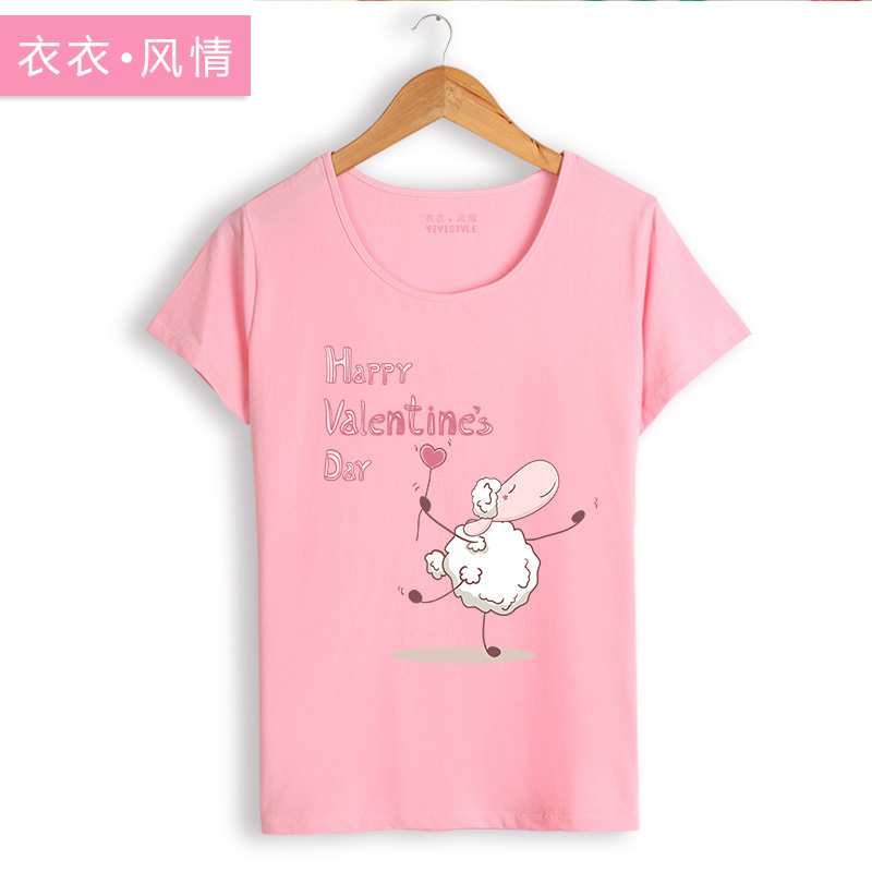 Summer korean version of college wind cute cartoon printing bottoming shirt sleeve female sheep girl student short sleeve t-shirt