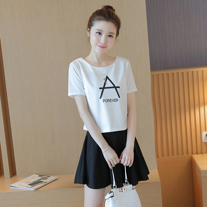 Summer korean version of college wind girl student fashion sweet lady was thin chiffon tutu skirt piece skirt suit