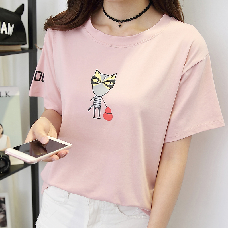 Summer korean version of the lovely animal cartoon printing korean fan wild students enrolled birthday pink loose t-shirt female tide