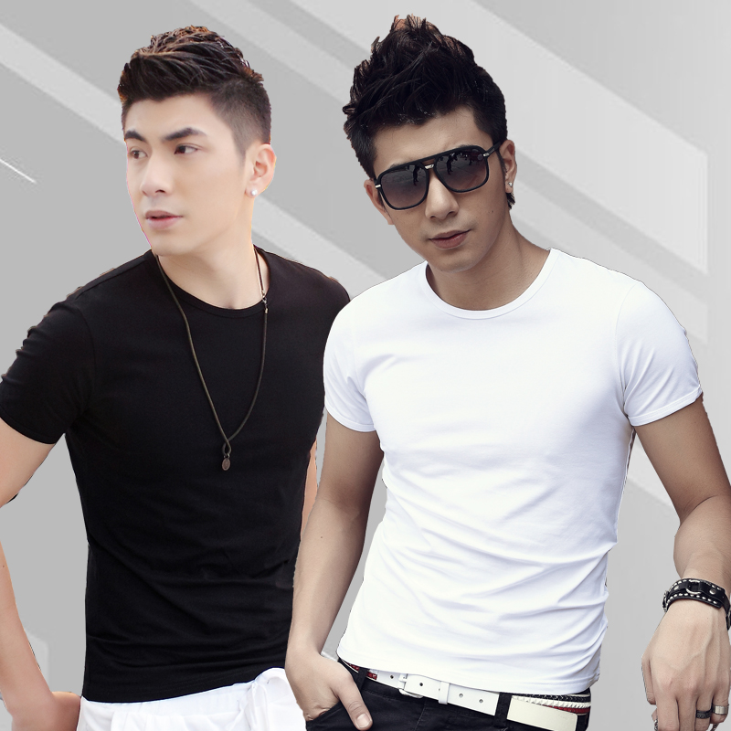 Summer men short sleeve t-shirt slim solid round neck white youth sleeve men's skinny korean students on clothes