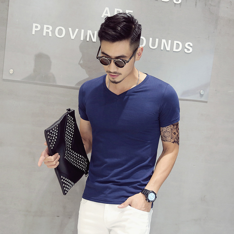 Summer men's half sleeve v-neck solid color t-shirt men short sleeve t-shirt cotton slim thin section pure white summer clothes